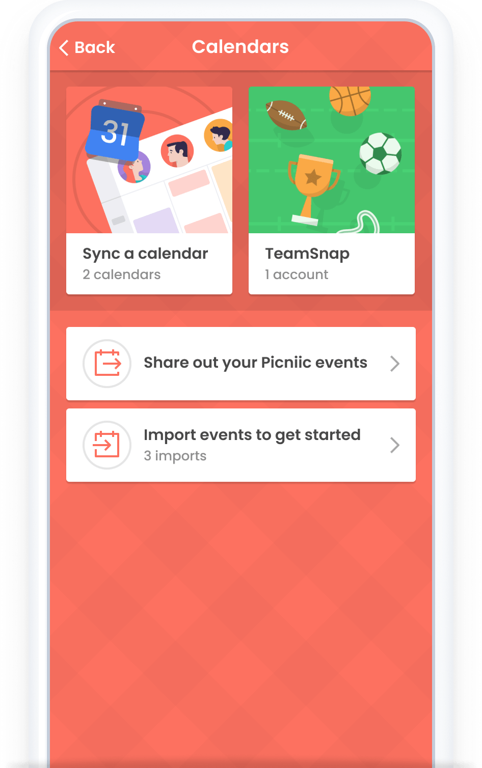 Connect Calendars Menu